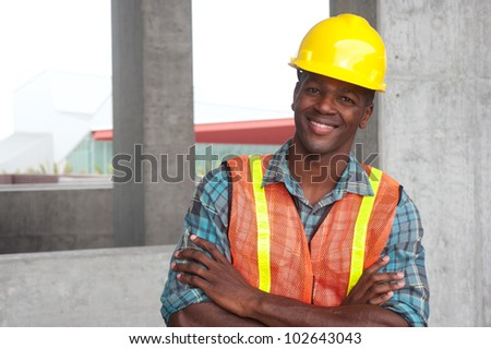 portrait of an African American construction worker on location - stock photo