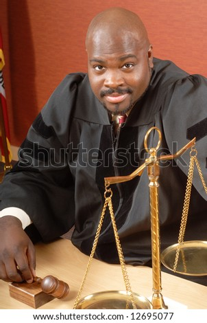 Portrait of an African American judge in the courtroom - stock photo