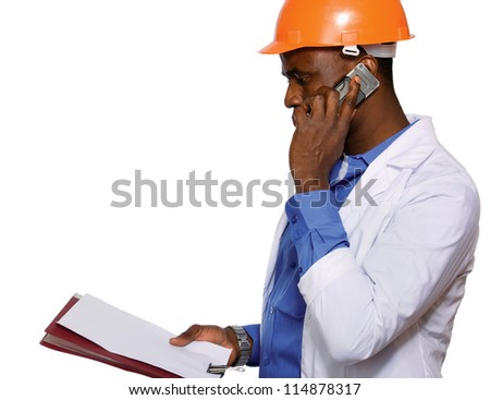 Portrait of an African American with folder and phone - stock photo