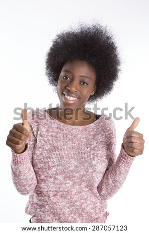 portrait of an African girl smiling - stock photo