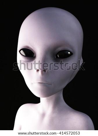 Portrait of an alien, 3D rendering. Black background. - stock photo