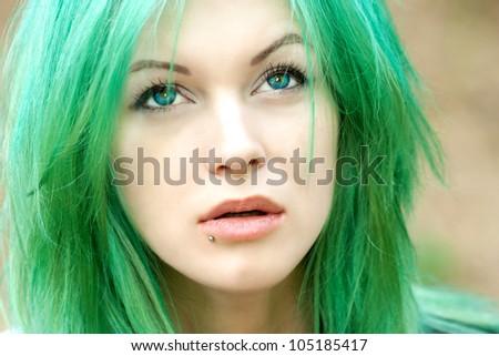 portrait of an alternative model - stock photo