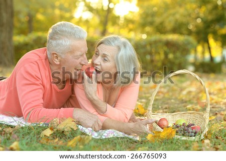 Portrait of an amusing old couple on picnic - stock photo