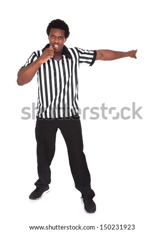 Portrait Of An Angry African Referee Isolated Over White Background - stock photo