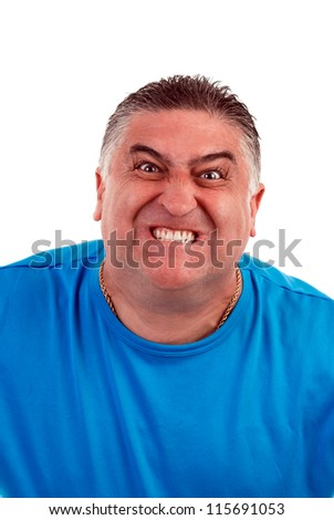 Portrait of an  angry  man, isolated on white - stock photo