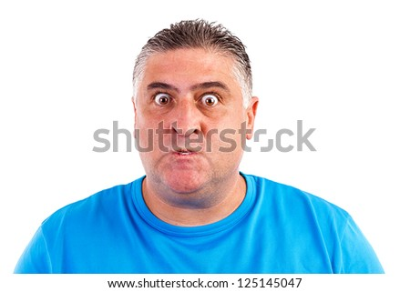 Portrait of an angry man isolated on white background - stock photo