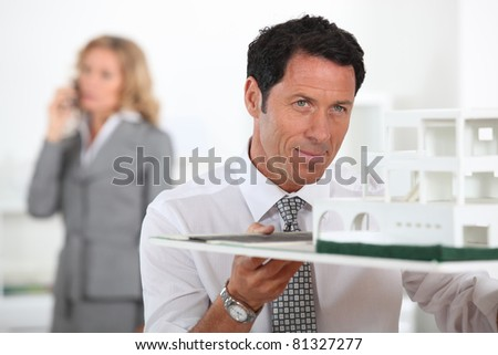 portrait of an architect - stock photo