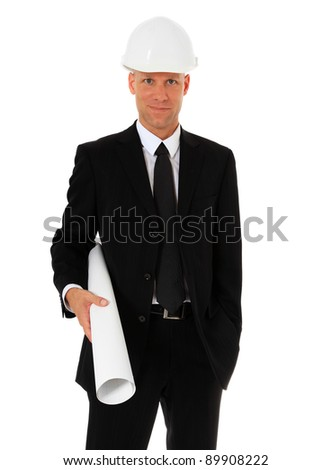 Portrait of an architect wearing helmet. All on white background. - stock photo