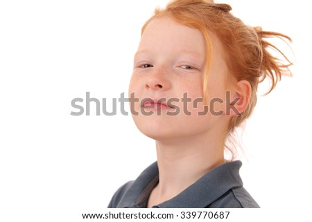 Portrait of an arrogant young teen girl on white background - stock photo