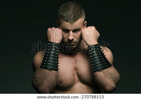 Portrait of an athletic man topless. - stock photo