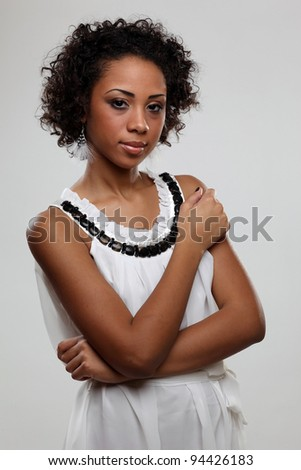 Portrait of an attractive black woman - stock photo