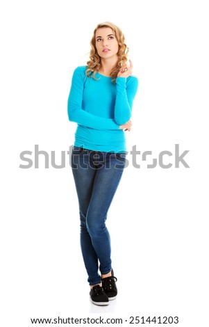 Portrait of an attractive fashionable young woman. - stock photo