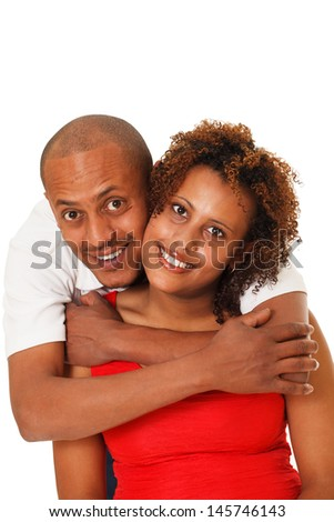 Portrait of an attractive, happy young African American couple. - stock photo