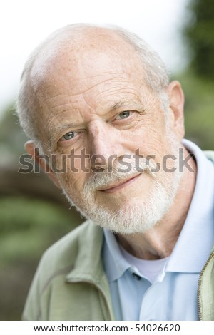 Portrait of an Attractive Old Man With a Grey Beard - stock photo
