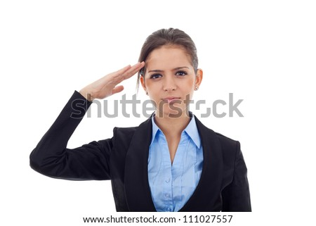 Portrait of an attractive young business woman saluting. Facing the camera, over white background - stock photo