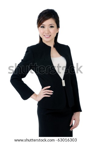 Portrait of an attractive young businesswoman smiling, over white background. - stock photo