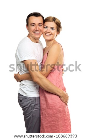 Portrait of an attractive young couple looking at the camera - stock photo