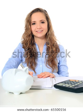 Portrait of an attractive young girl doing her budgeting. All on white background. - stock photo