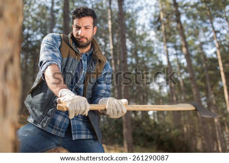 Portrait of an attractive young lumberjack man cutting down the trees in the forest - stock photo
