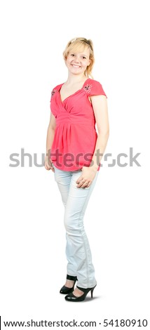 Portrait of an casual young girl in pink shirt over white - stock photo