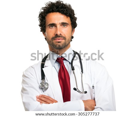 Portrait of an confident doctor. Isolated on white - stock photo