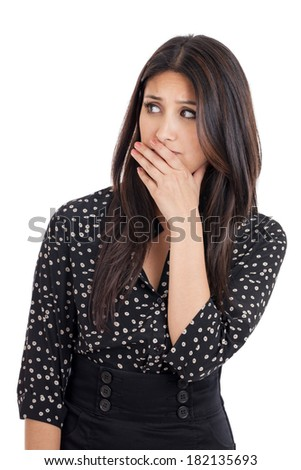 Portrait of an early 20s mixed race Japanese Hispanic business woman with worried or disgusted facial expression isolated on white background - stock photo