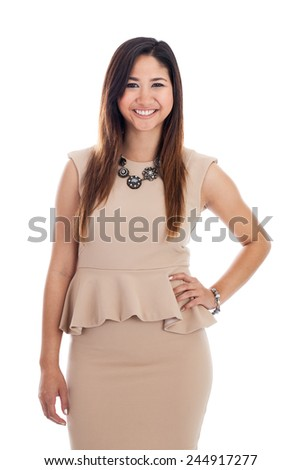 Portrait of an early 20s young professional Malaysian business woman isolated on a white background - stock photo