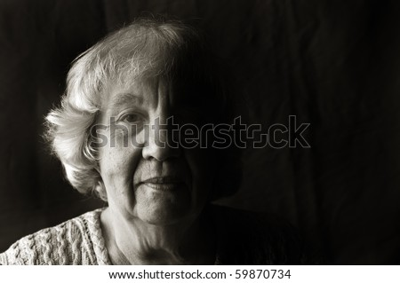 """Portrait of an elderly woman. """"Black and white portraits"""" series - stock photo"""