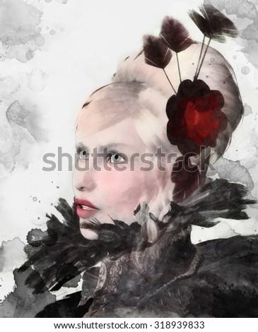 Portrait of an elegant blonde woman - stock photo