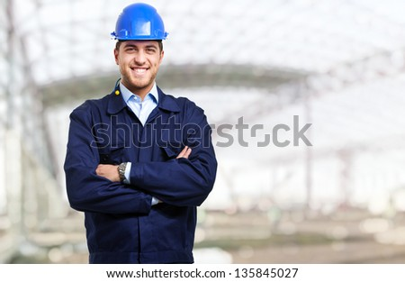 Portrait of an engineer at work - stock photo