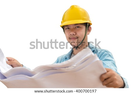 Portrait of an engineer isolated on white background - stock photo