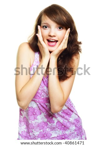 portrait of an excited screaming young woman - stock photo