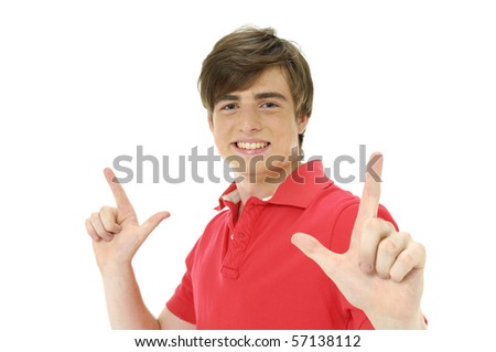 Portrait of an excited young man gesturing with both hands - stock photo