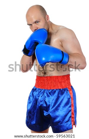 Portrait of an experienced boxer in gloves. Isolated on white background - stock photo