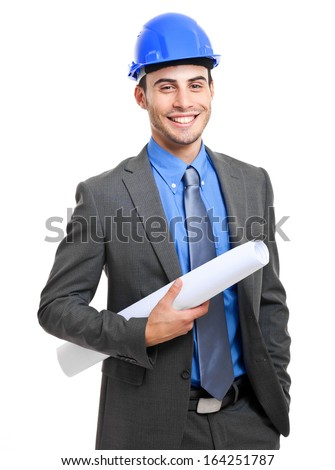 Portrait of an handsome engineer. Isolated on white  - stock photo