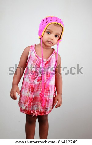 Portrait of an Indian baby girl - stock photo