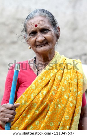 Portrait of an Indian old woman - stock photo