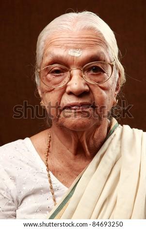 Portrait of an Indian senior woman - stock photo
