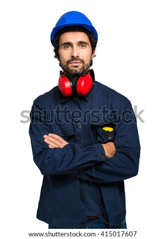 Portrait of an industrial worker isolated on white - stock photo