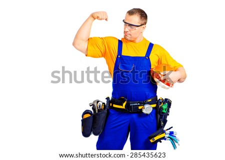 Portrait of an industrial worker posing with different emotions. Job, occupation. Isolated over white.  - stock photo