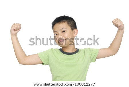 portrait of an innocent little boy flexing biceps isolated against white background - stock photo