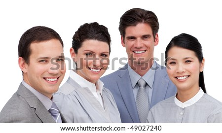 Portrait of an international business team against a white background - stock photo