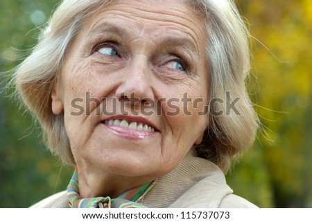 Portrait of an old beautiful woman in autumn outdoors - stock photo