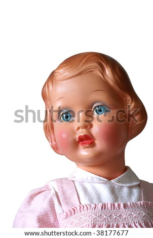 Portrait of an old doll, isolated on white. - stock photo