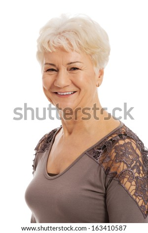 Portrait of an old, elderly lady. isolated on white.  - stock photo