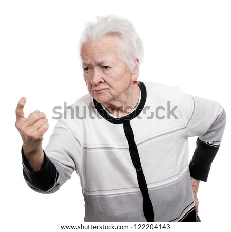 Portrait of an old woman in angry gesture on white background - stock photo