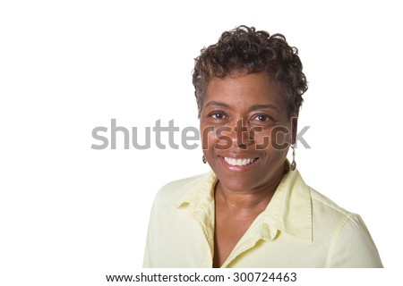 Portrait of an older middle aged woman isolated on white - stock photo