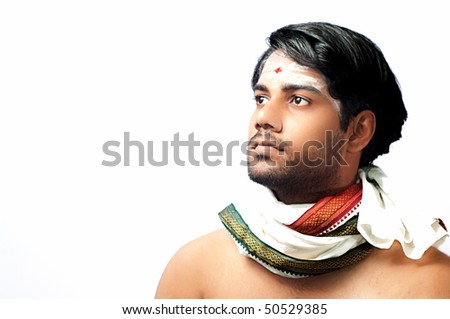 Portrait of an young hind man - stock photo