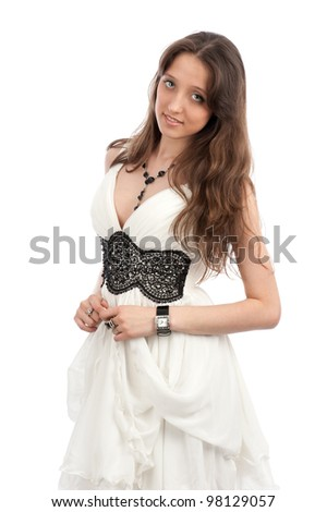 Portrait of an young woman with beautiful long hairs, isolated on white - stock photo