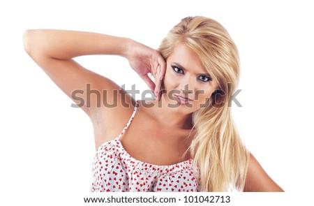 Portrait of angry blond women, studio shot - stock photo